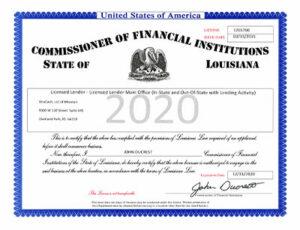 2020 Louisana License Certificate